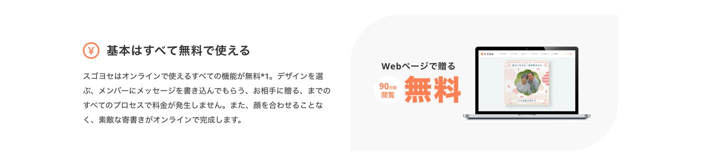 スゴヨセは基本はすべて無料で使える。スゴヨセはオンラインで使えるすべての機能が無料*1。デザインを選ぶ、メンバーにメッセージを書き込んでもらう、お相手に贈る、までのすべてのプロセスで料金が発生しません。また、顔を合わせることなく、素敵な寄書きがオンラインで完成します。